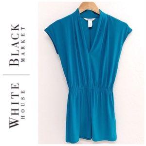White House Black Market Teal Blouson Mini Dress